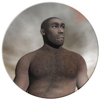 Male homo erectus - 3D render Porcelain Plate