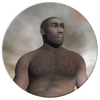 Male homo erectus - 3D render Porcelain Plates