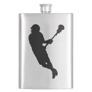Male Lacrosse Player Silhouette Hip Flask