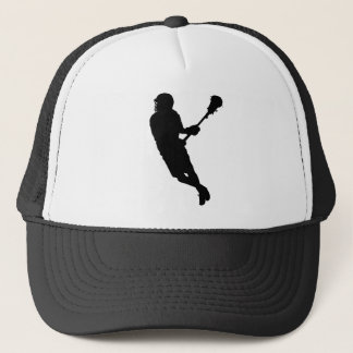 Male Lacrosse Player Silhouette Trucker Hat