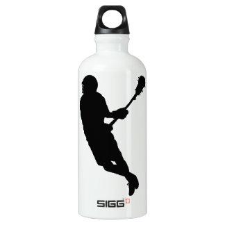 Male Lacrosse Player Silhouette Water Bottle
