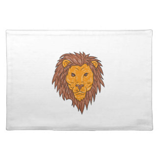 Male Lion Big Cat Head Drawing Placemat