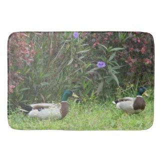 Male Mallard Duck Birds Flowers Bath Mat