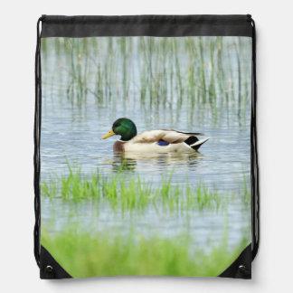 Male mallard or wild duck, anas platyrhynchos drawstring bag