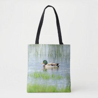 Male mallard or wild duck, anas platyrhynchos tote bag