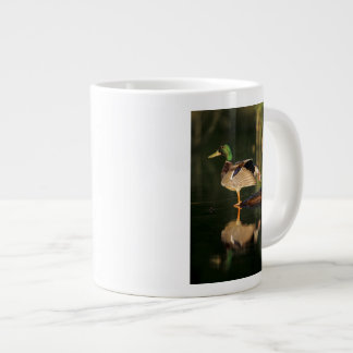 Male mallard stretching, Illinois Large Coffee Mug