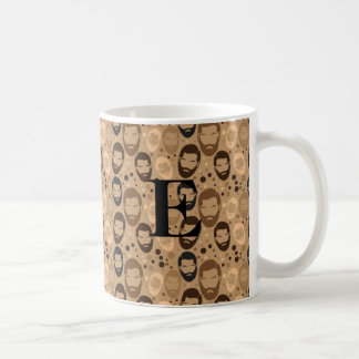 Male man bearded pattern with E monogram Coffee Mug