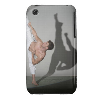 Male martial artist performing kick, studio shot Case-Mate iPhone 3 case