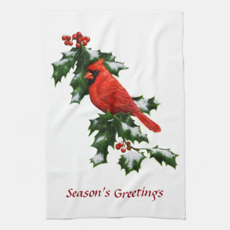 Male Northern Cardinal and Holly Kitchen Towel