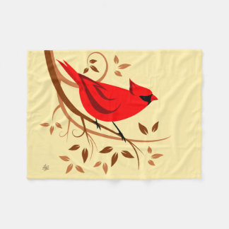 Male Northern cardinal Design Fleece Blanket