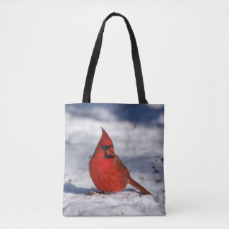 Male Northern Cardinal in the Snow Tote Bag