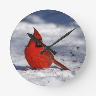 Male Northern Cardinal in the Snow Wall Clock