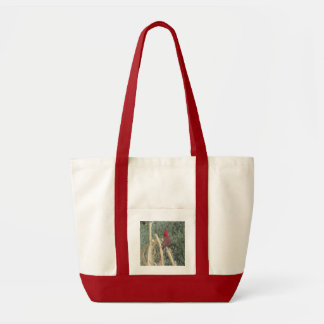 Male Northern Cardinal on Corn Tassel Tote Bag