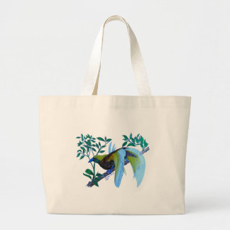 Male Paradise Bird Large Tote Bag