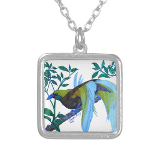 Male Paradise Bird Silver Plated Necklace