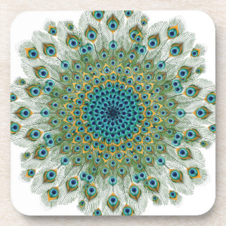 Male Peacock Colorful Mandala Coaster