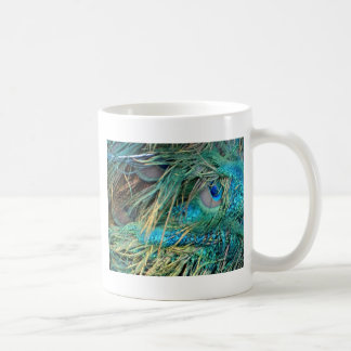 Male Peacock Feathers Blue And Green Coffee Mug