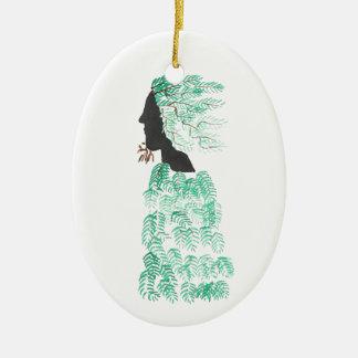 Male Pine Spirit Ceramic Oval Ornament