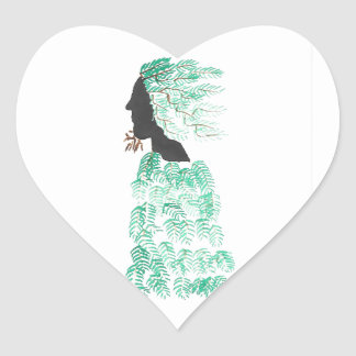 Male Pine Spirit Heart Sticker