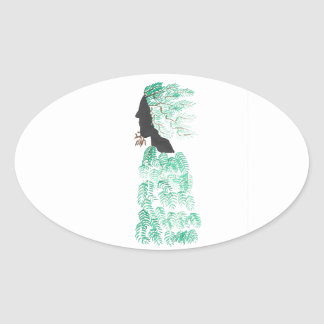 Male Pine Spirit Oval Sticker