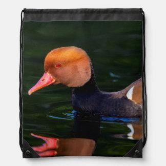 Male red-crested pochard, netta rufina, duck drawstring bag