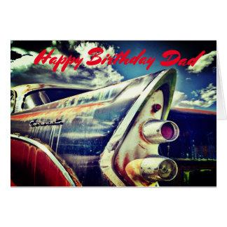 Male Relative, Birthday. Vintage car. Card