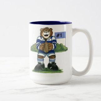 Male Rugby Bear in Blue Two-Tone Coffee Mug
