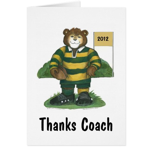 Male Rugby Bear in Green and Gold Cards