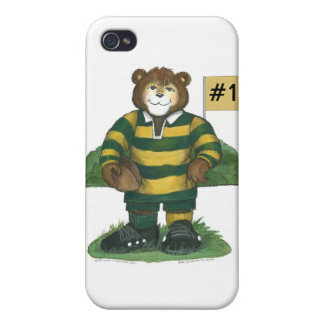 Male Rugby Bear in Green and Gold Case For The iPhone 4