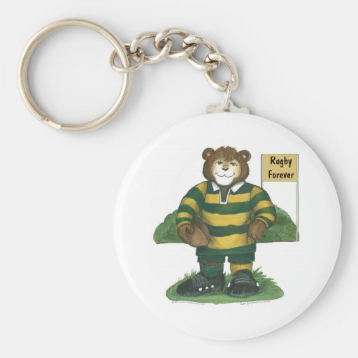 Male Rugby Bear in Green and Gold Keychains