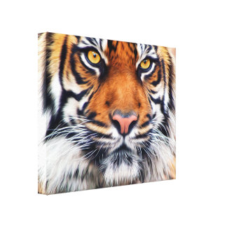 Male Siberian Tiger Paint Photograph Canvas Print