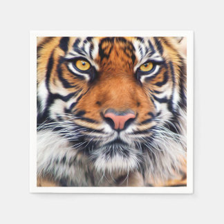 Male Siberian Tiger Paint Photograph Paper Napkins