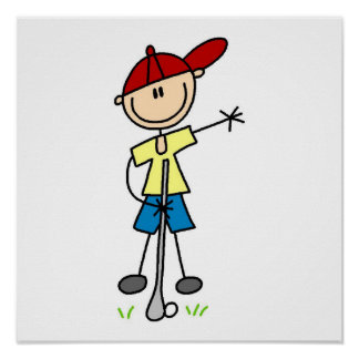 Male Stick Figure Golfer Poster