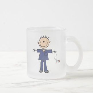 Male Stick Figure Nurse - Blue Frosted Glass Coffee Mug