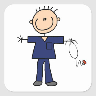 Male Stick Figure Nurse - Blue Square Sticker