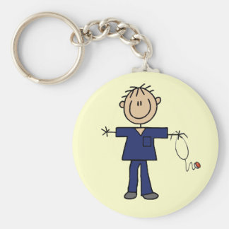 Male Stick Figure Nurse Medium Skin Keychain