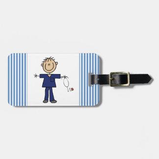 Male Stick Figure Nurse Medium Skin Luggage Tag