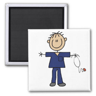 Male Stick Figure Nurse Medium Skin Square Magnet