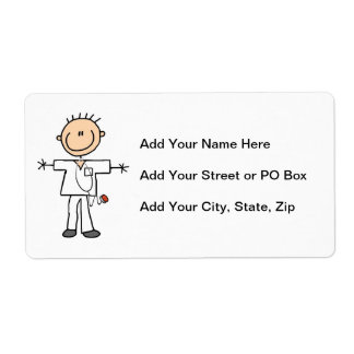 Male Stick Figure Nurse T-shirts and Gifts Shipping Label