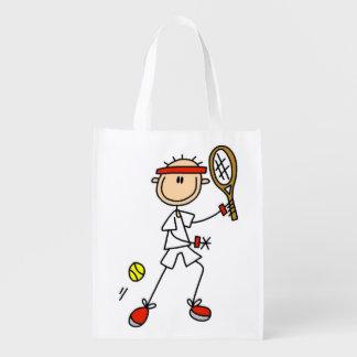 Male Stick Figure Tennis Player Reusable Grocery Bag