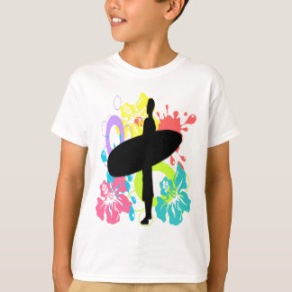Male Surfer, Colorful Hibiscus Kid's T-Shirt