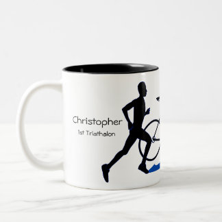 Male Triathlon Keepsake Two-Tone Coffee Mug