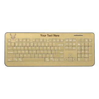 Male Trophy Deer Head Large Antlers light Brown Wireless Keyboard