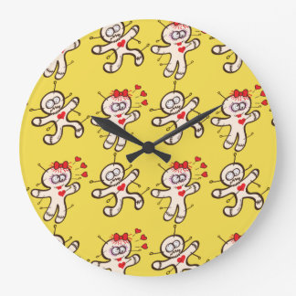 Male voodoo doll running from a female in love large clock