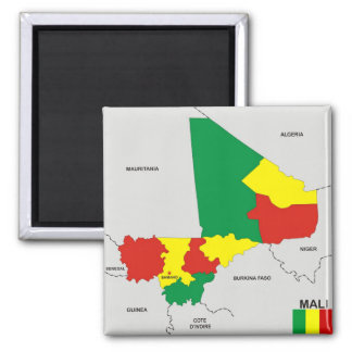 mali country political map flag square magnet