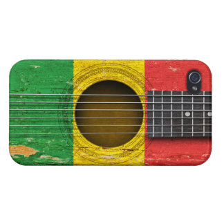 Mali Flag on Old Acoustic Guitar Cases For iPhone 4