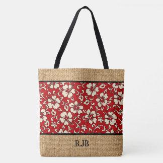 Malia Hibiscus Hawaiian Monogram Beach Bag