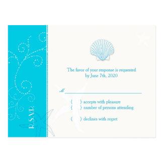 Malibu Blue Beach Shell Wedding RSVP 4 25x5 6 Post Cards