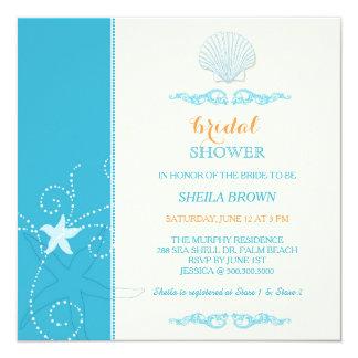 Malibu Blue Ivory Beach Bridal Shower Card