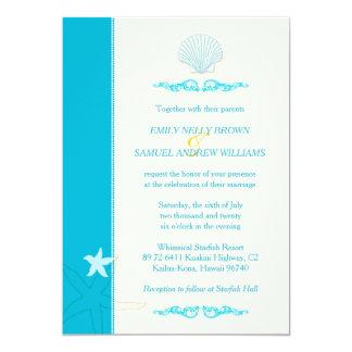 Malibu Blue + Ivory Hip Beach Wedding Card